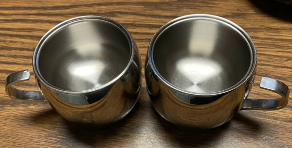 2 TRAMONTINA Expresso Double Wall Stainless Small Cups INOX 18 10 Brasil Brazil