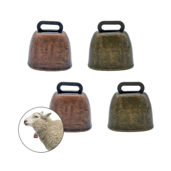 unbrand FAFAHOUSE 4 Pack Small Brass BellCow Horse Sheep Grazing Copper Bell...