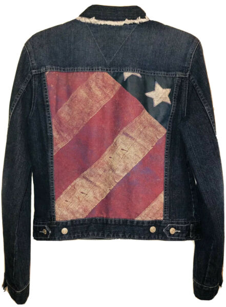 Tommy Hilfiger Jacket Womens Med Blue Jean W American Flag Zips Preowned $38.00