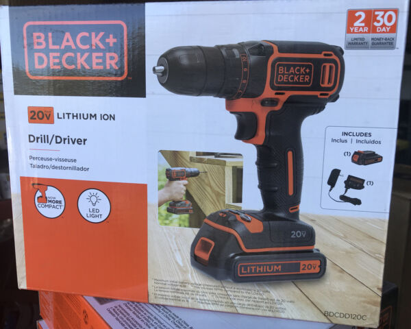 New BlackDecker 20V Battery Powered Cordless Drill Driver BDCDD120C