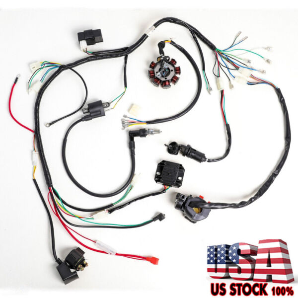 Electric Wiring Harness Wire Loom CDI Stator Kit for 150CC 200CC 250CC ATV QUAD $32.99