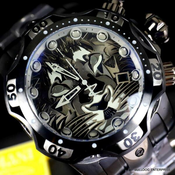 Invicta Venom Gen III Lion Black Steel Swiss Mvt Chronograph Watch 52mm New