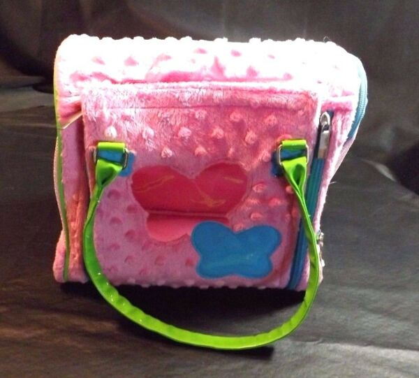 PLUSH PINK amp; BLUE W GREEN HANDLES PUCCI PUGS TOY CARRIER 9 1 2quot;X9 1 2quot;X 6quot; $5.99