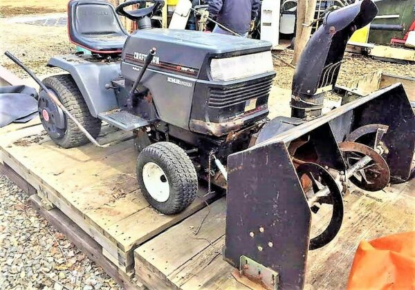 CRAFTSMAN TRACTOR W CRAFTSMAN SNOWBLOWER GRAY INNER TUBED TIRES LOW PRICED