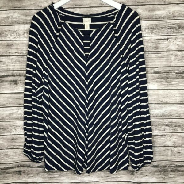 Chicos Size 2 Navy Blue White Chevron Stripe Long Sleeve Cut Out Top Large $22.45