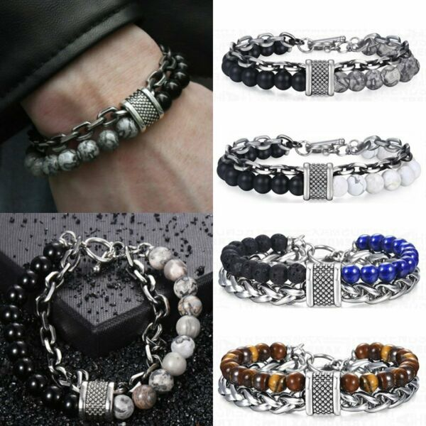 Fashion Natural Stone Tiger Eye Lava Beads Men Bracelets Stainless Steel Jewelry
