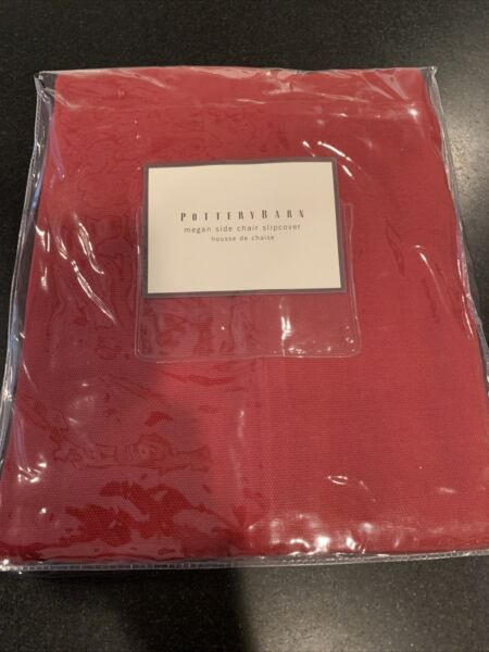 Pottery Barn Megan Dining Chair Slipcover Cranberry Red Canvas short NEW $35.00