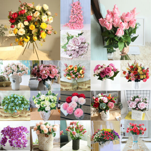 Artificial Flowers Fake Plants Outdoor Floral Greenery Plant Home Garden Decor