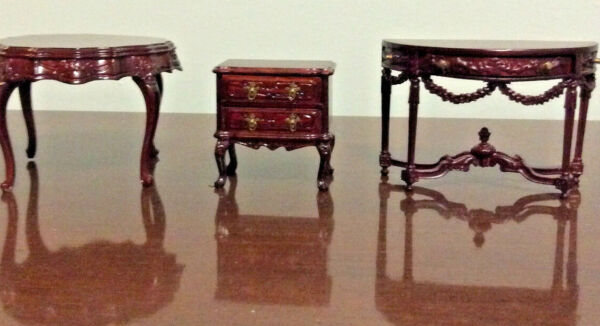3 Pieces of Nicely Carved Bespaq Mahogany Furniture for Dollhouse $69.95