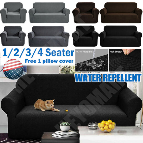 Waterproof Non Slip Slipcover 1 2 3 4 Seater Stretch Chair Sofa Cover Protector $27.54