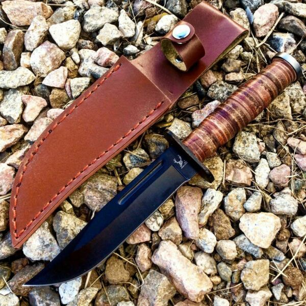 BONE EDGE 9quot; CLIP POINT Fixed Blade WOOD GRAIN Tactical Survival Hunting Knife