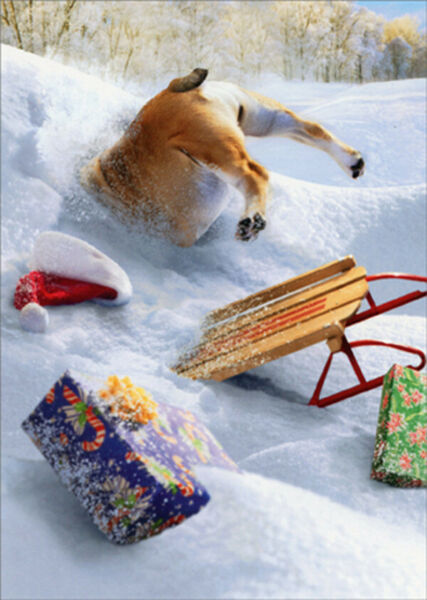 Dog and Sled Stuck in Pile of Snow Humorous Funny Box of 10 Christmas Cards $12.95