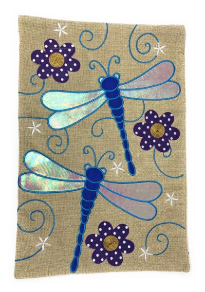 Dragonfly Burlap Garden Flag Double Sided 12quot; x 18quot;