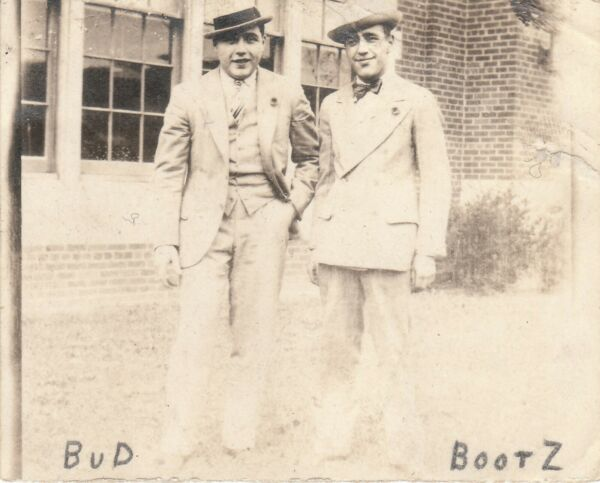 vintage antique photo gangster looking men wearing hats Bud and Bootz