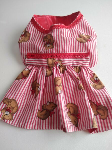 Girl dog clothes small striped bear dress $12.49
