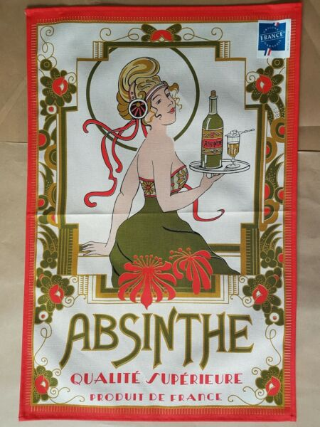 French Screen Print Tea Towel Torchons amp; Bouchons ABSINTHE