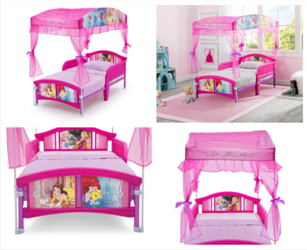 Disney Princess Toddler Plastic Canopy Bed Pink Bedroom Furniture for Children $99.42