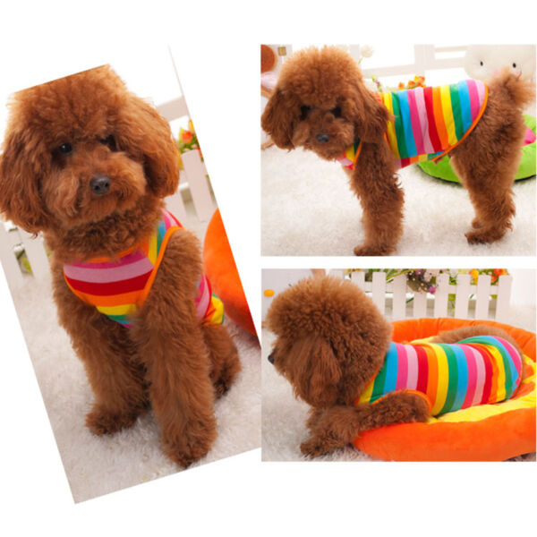 Pet Dog Rainbow Striped Vest Clothing Lovely Party Costume Apparel Fashion US $7.29