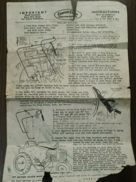 Comfort Cover Tractor Heater for John Deere A amp; B 1947 amp; Up Instruction Sheet $3.00