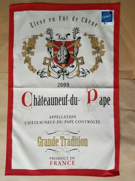 French Screen Print Tea Towel Torchons amp; Bouchons CHATEAUNEUF DU PAPE