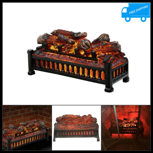 20in Electric Fireplace Log Insert Artificial Fire Wood Grate Set LED Flame 120V
