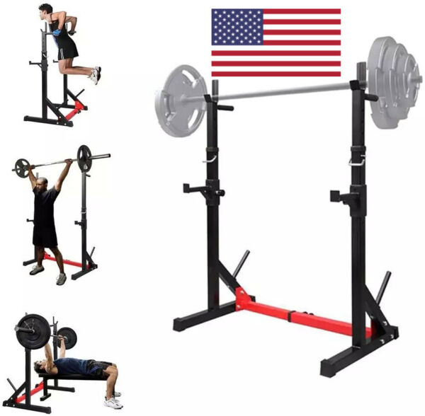 Heavy 2 PCs Adjustable Squat Rack Stand Steel weightlifting squat Barbell $179.99