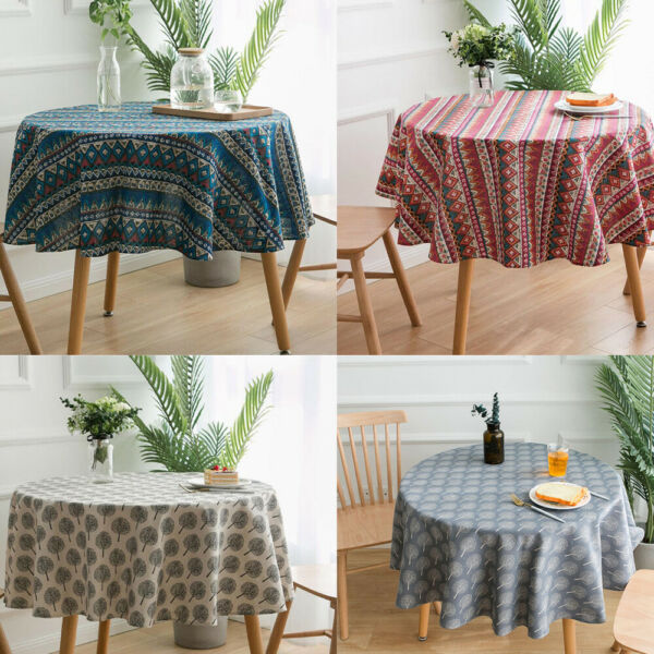 Boho Round Printed Cotton Linen Tablecloths Dining Christmas Party Home Decor