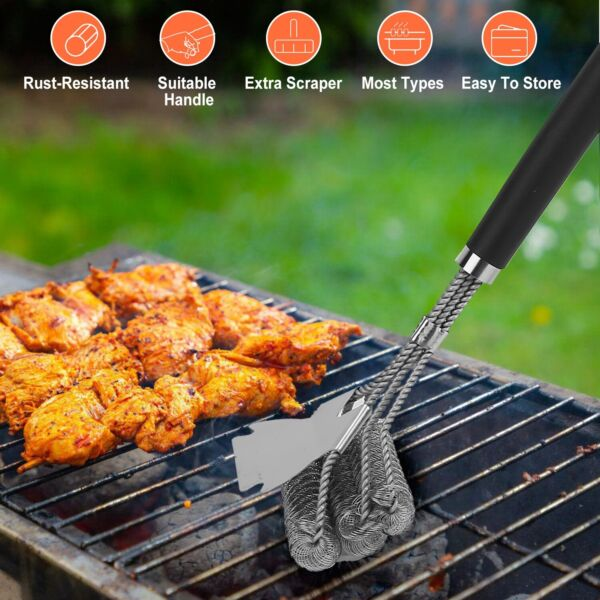 16.5quot; Stainless Steel Bristle Free Grill Brush Scraper Tool for BBQ Cleaning