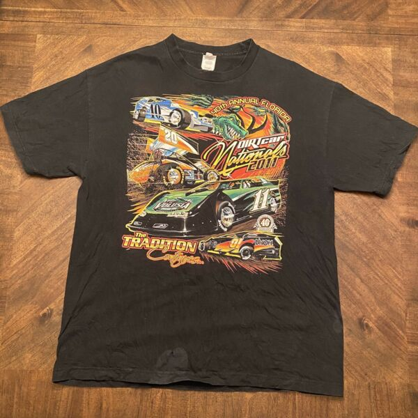 Vintage 40th 2011 Dirt Car Track Nationals Race Racing NASCAR Style T Shirt XL $11.99