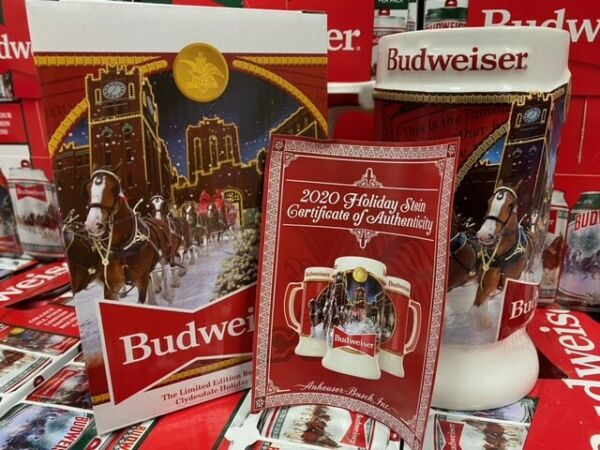 2020 Budweiser Holiday stein mug annual Christmas series New in Box
