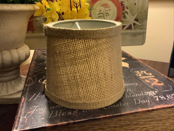 """Small Burlap Round 4.25""""H Clip On Lamp Shade FREE SHIPPING Excellent Condition"""