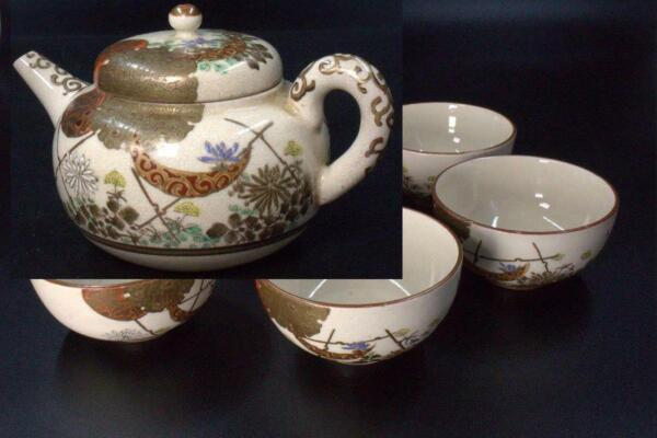 Japanese Antique Kutani Tea Pot Five cups Meiji period KW15