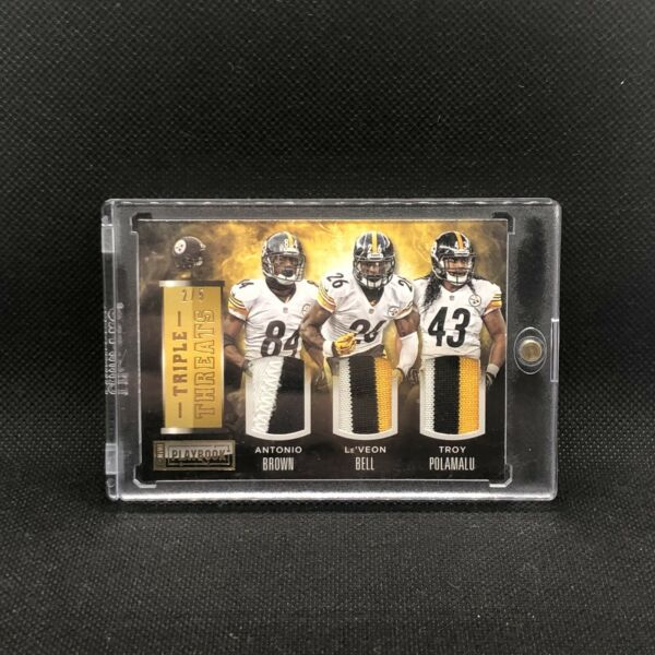 2014 Troy Polamalu Antonio Brown Leveon Bell Triple Patch 5 all game worn $69.69