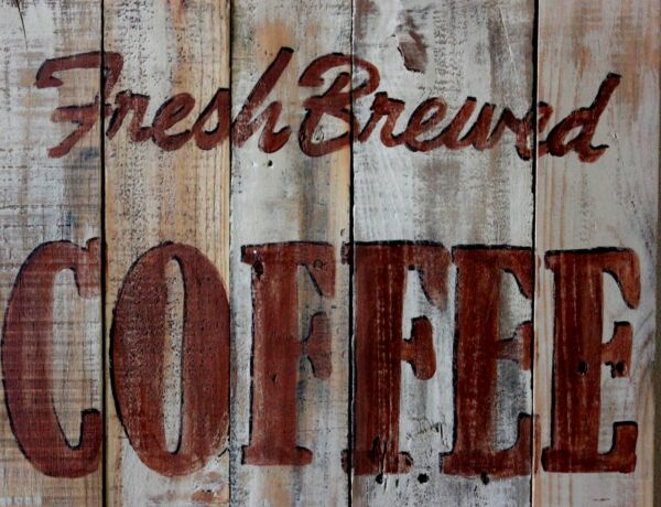 TIN SIGN quot;Fresh Brewed Coffee Woodquot; Caffeine Deco Garage Wall Decor $7.35