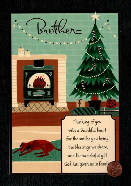 Christmas Fireplace Tree Dog FOR BROTHER LARGE Greeting Card W TRACKING $3.95