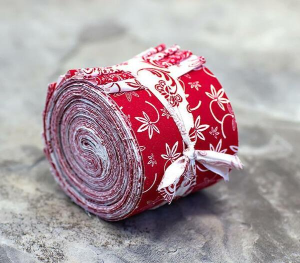 Red and White Jelly Roll 100% cotton fabric quilting 15 strips quilt strips $10.99