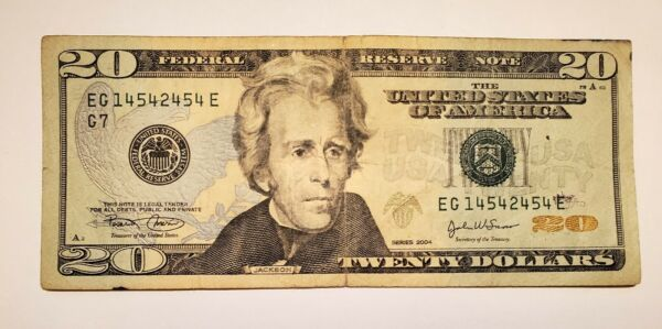 FANCY Serial Number $20 Dollars Bill EG 14542454 Series 2004 in Circulated Cond $28.50