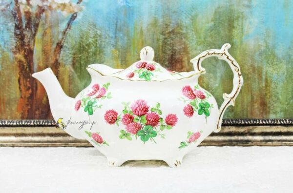 Hammersley Pink Clover Floral Fancy Large English Bone China Teapot $98.00