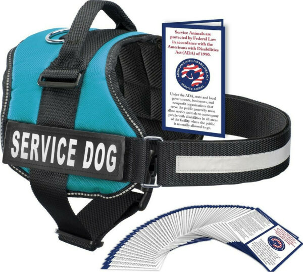 Industrial Puppy Service Dog BLUE Vest Harness Small w Pull Handle amp; ADA Cards $10.00