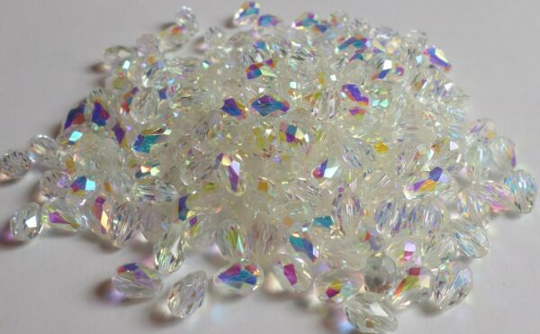 Vintage 32 Swarovski Crystal AB Tear Drop Pendant 9x6mm Art 5500 1st Quality New