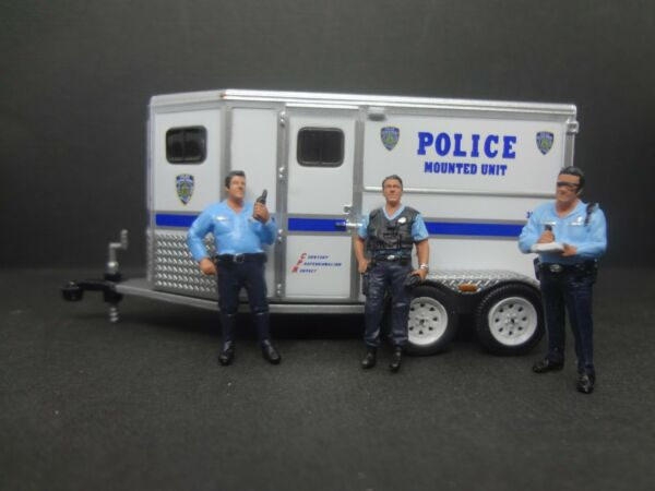 Greenlight NYPD Mounted Unit Horse Trailer 3 NYPD cops $21.99