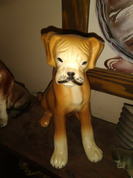 Vintage Large Boxer Dog Figurine 9 1 2quot; Tall $25.00