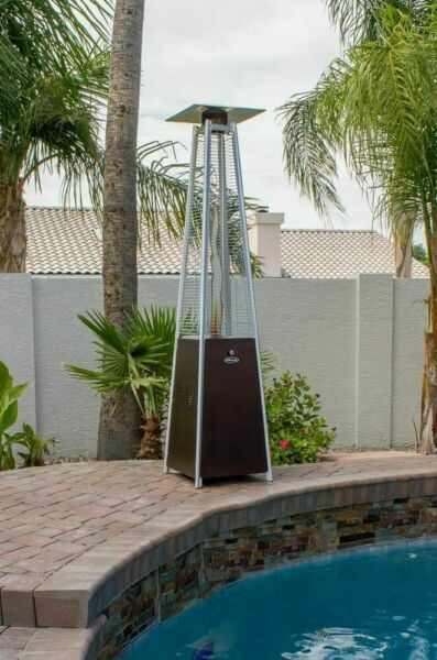 Hiland HLDSO1 Pyramid Patio Propane Heater w Wheels Bronze 87 inches NEW🔥