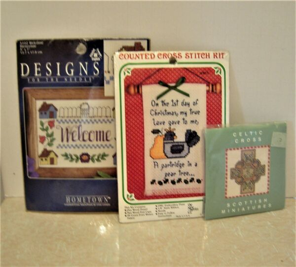 Lot of 3 Counted Cross Stitch Mini Kits NEW Various Styles