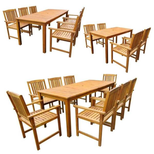 Outdoor Dining Set Garden Patio Table Chairs Kitchen Furniture Solid Acacia Wood $574.56