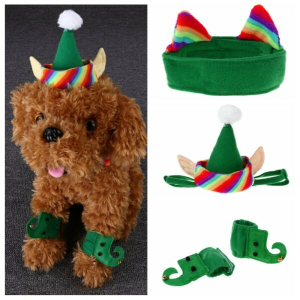 Pet Dog Cat Christmas Elf Costumes Green HatNeck CollarFoot Sleeve Funny Party