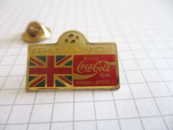 FLAG OF ENGLAND WORLD CUP OF FOOTBALL ITALY 90 COCA VINTAGE LAPEL PIN BADGE us3
