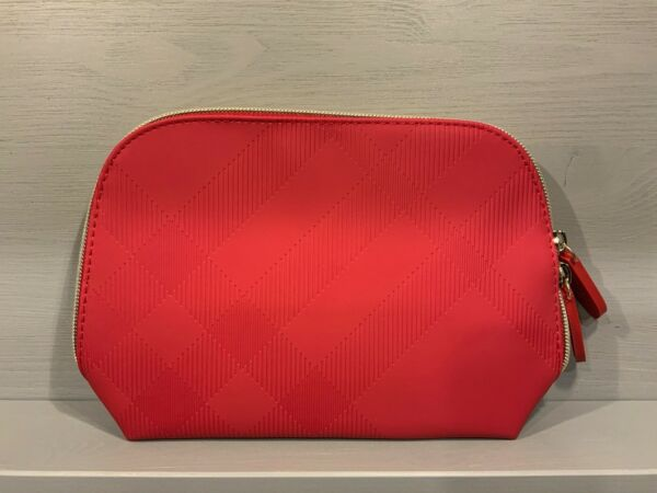 BURBERRY Womens RED TAN Pouch Trousse Makeup Bag NEW in Burberry Gift Box $26.99