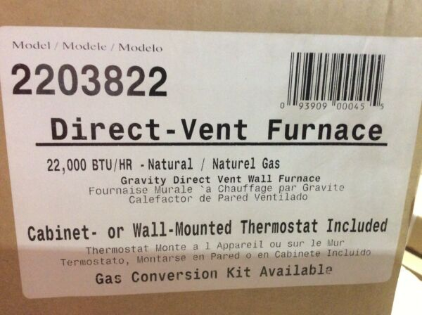 WILLIAMS 2203822 DIRECT VENT GRAVITY WALL HEATER 22000 BTUH 67%AFUE NATURAL GAS $499.99