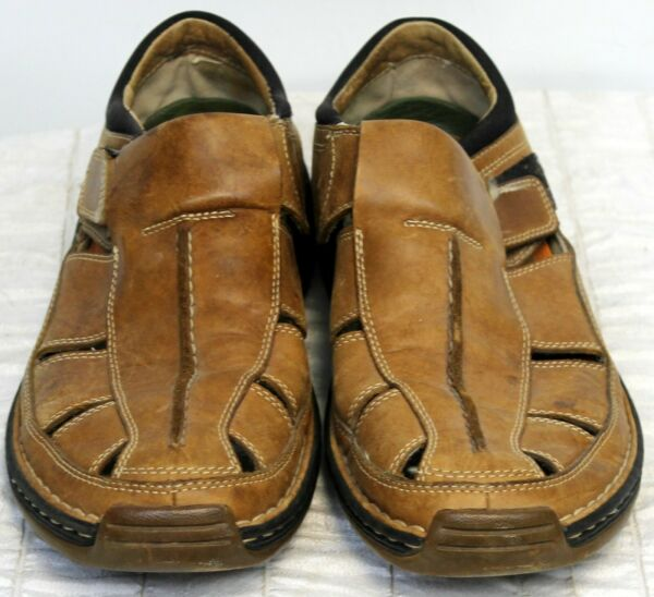 Timberland Sandals Mens 11W Smart Comfort System Brown Leather Fisherman Covered $50.00